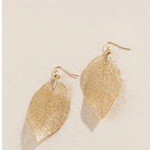 Anthropologie Golden Leaf Earrings